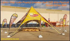 Tear Drop Flags   A large tent was produced for Lipton Chai Latte Foamy for Unilever Gulf FZE with full colour branding for the Dubai Kite Fiesta Dubai Outlet Mall. Tear drop flags and satin bean bags were also produced and placed in and around the venue.