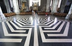 The famous Labyrinth of Amiens Cathedral.  It has been recently reconstructed but matches the original floor pattern from the 13th century.