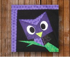 Easy Peeping Owl 10 x 10 Quilt Block Pattern