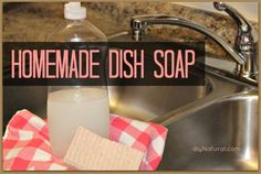 Homemade Dish Soap Ingredients: 1 ¾ cups boiling water 1 Tbsp borax 1 Tbsp grated bar soap (use castile bar soap, homemade soap, Ivory, or whichever natural bar you prefer) 15-20 drops essential oils, optional (find 100% pure essential oils here)