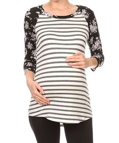Chris & Carol Off-White & Gray Stripe Floral Raglan Maternity Top by Chris & Carol Maternity #zulily #zulilyfinds