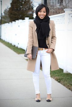 Neutrals, camel coat, white skinny jeans, cap toe flats, casual outfit