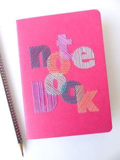 Carnet brodé main typographie notebook par LesFilsRouges sur Etsy - 13€