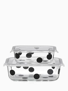 Kate Spade Deco Dot 4pc Rectangular Food Storage Containers, Black