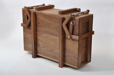 Chest nr.1 The first of a series of fine crafted chests, equipped with wooden hinges and clamps, adressing our natural interest with the moveable language of mechanics.