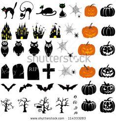 Happy Halloween theme icon set. Vector illustration. - stock vector