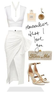 sunday valentine by sierrastevie featuring Maticevski Tamara Mellon Edie Parker Vince Camuto Helen Moore Balmain clothing White Outfits, Classy Outfits, Sexy Outfits, Stylish Outfits, Fashion Outfits, Womens Fashion, Fashion Trends, White Outfit Party, Dress Outfits