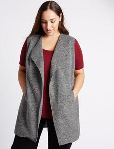 PLUS Tweed Sleeveless Jacket