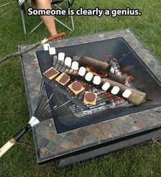 Smores on a rake. *** Just make sure it is a new unused rake. only a smores dedicated rake!!! don't want dirt and leaves in your teeth. hahaha ;)