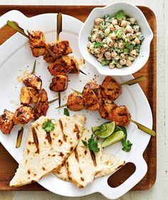 Curried Chicken Skewers with Creamy Chickpea Salad | Canadian Living