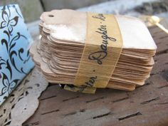 100 SMALL DECORATIVE Tags. Hand Stained. Vintage. Wedding Tags. Gift. Escort Card. Hang Tag. Price Tag. Wish Tree. Save The Date. Place Card. $18.00, via Etsy.