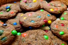 Pioneer Woman Browned Butter Cookies with m&m's (she suggests half chocolate chips to make less super sweet)