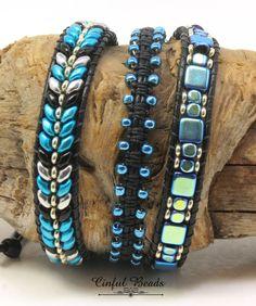 Beaded and Macrame Leather Wrap Bracelet-Boho Leather Wrap-Triple Leather Wrap Bracelet-Metalust Turquoise and Black Leather Wrap-(TW46) by CinfulBeadCreations on Etsy