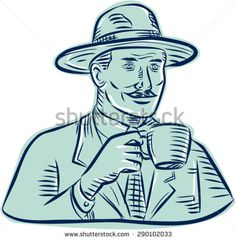 Etching engraving handmade style illustration of a man wearing vintage fedora hat holding coffee mug drinking coffee set on isolated white background. - stock vector #coffeebreak #etching #illustration