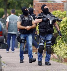 The teenager, arrested in the Melun area of southern Paris, was accused of using the Telegram social media app to spread calls by the terror group to launch an attack (file picture) Military Gear, Military Police, Military Fashion, Paris Terror Attack, Tactical Wear, Military Action Figures, Military Special Forces, Special Ops, Men In Uniform