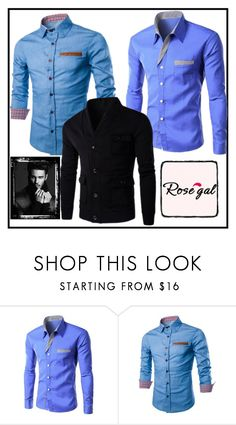 """Men's beautiful shirt and jacket   Rosegal2"" by merisa-imsirovic ❤ liked on Polyvore featuring men's fashion and menswear"