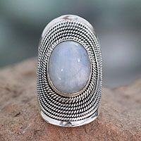 Novica - Rainbow moonstone cocktail ring, 'Jaipur Mist' - Sterling Silver Rainbow Moonstone Ring from India