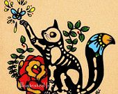 Day of the Dead POSTCARDS Cat and Dog Skeleton Pets - Donation to Austin Pets Alive. $5.00, via Etsy.