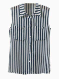 Vintage Strip Vest Blouse   Choies
