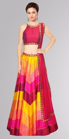 Multi Color Raw Silk Lehenga Choli ok, I clearly really love the rainbow look. Indian Wedding Outfits, Indian Outfits, Indian Clothes, Raw Silk Lehenga, Bollywood Lehenga, Indian Bollywood, Indian Look, Indian Wear, Elegant Fashion Wear