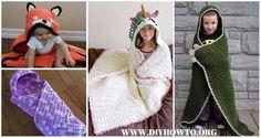 Crochet Hooded Blanket Free Patterns & Tutorials: Crochet animal hooded blanket, cat, unicorn, dinosaur, panda, fox and easy ones for kids and adults