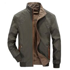 Mens Winter Thick Reversible Both Sides Slim Fit Cotton Jacket Military Outdoors Stand Collar Coat  - Gchoic.com