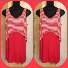 Layered Tank Dress NWT. Tomato red striped faux layered tank dress. Misses XL. Rayon spandex blend. Very forgiving fabric. NO TRADES Style & Co Dresses