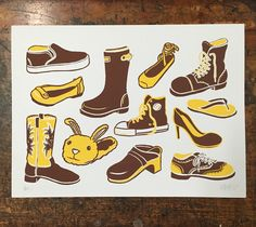 Footwear Forever Screen Print. Footwear for all! Whatever your favorite toe toppers are, it's all good. Each two color print is 12x9 inches and is printed in a limited edition of 35 on 100lb white cover stock.
