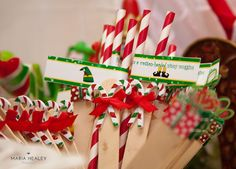 Buddy the elf straw flag labels.