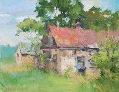 """Third Place Award Sponsor: Oil Painters of America Judge: Kim Casebeer OPA """"Abandoned"""" by Frankie Johnson x Watercolor Landscape, Abstract Landscape, Landscape Paintings, Watercolor Paintings, Building Painting, Building Art, Pinturas Color Pastel, Painting Competition, Oil Painters"""