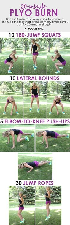 This plyo workout combines high intensity movements with a circuit style workout that will keep you engaged and sweating your butt off! ~ 'First, run 1 mile . As fit as I'd like to get, I don't see that happening. Fitness Workouts, Plyo Workouts, Plyometric Workout, Plyometrics, At Home Workouts, Fitness Tips, Health Fitness, Fitness Weightloss, Health And Wellness