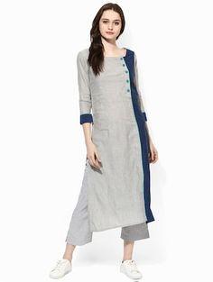 Simple Kurti Designs, Salwar Designs, Kurta Designs Women, Plain Kurti Designs, Dress Neck Designs, Blouse Designs, Kurtha Designs, Khadi Kurta, Kurta Patterns