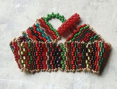 Christmas Tapestry  Peyote Bracelet by totallytwisted on Etsy