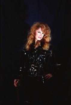 Red Hair Lady in Black Latex Cat Suit Middle East Fashion Show Models Philadelphia Studio Photo Shoot Portrait with Sword Nov 1995 053  via photographer695
