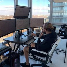 # forex trading desk setup Best Computer Chair for Long Hours of Sitting Office Setup Ideas Inspiration Ergonomic Concept Best Computer Chairs, Computer Desk Setup, Gaming Room Setup, Best Home Office Desk, Home Office Setup, Office Ideas, Best Ergonomic Office Chair, Trading Desk, Futuristic Home