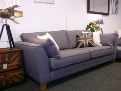 NEW Charlie Cream Fabric 3 Seater Retro Style Sofa With Contrast