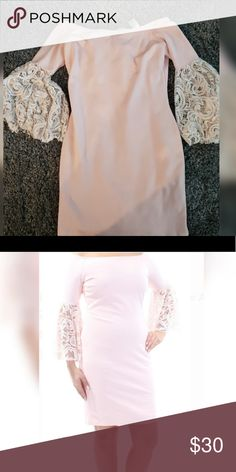 dce04bbf81d61a BAR III Womens Pink Lace Bell Sleeve Off Shoulder Light pink small dress Bar  III Dresses