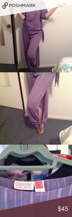 Two Piece Lavender SemiShear Belly Dancer Outfit Two Piece Lavender Evening out  or belly Dancer Outfit Size 7/8 EUC, made by Loooies Margate NJ 100% polyester, dry clean only semi shear Open leg with tie at ankle, side waist Loooie's of Margate  Other