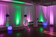 Sweet sixteen lounge furniture, pipe and drape, led cubes and tables, green and purple uplighting and custom gobo at the Gala Center in Baltimore, MD