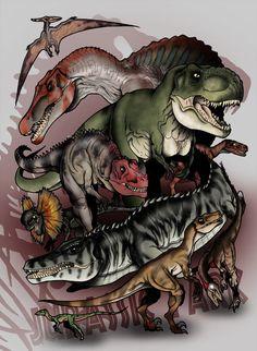 Pteranodon, Spinosaurus, Tyrannosaurus, Ceratosaurus, Velociraptor, Dilophosaurus, Mosasaurus, Staurikosaurus, Troodon & Compsognathus