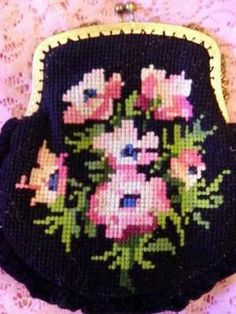 vintage NEEDLEPOINT PURSE rose design and by rosesofyesteryear, $38.00