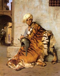 """Jean-Leon Gerome(1824-1904)Pelt Merchant of CairoOil on canvas186950 x 61.5cmPrivate collection. One of this artist's works (""""The Rug Merchants"""") is part of the permanent collection at the Minneapolis Institute of Art and it's my favorite piece.  His work is so luminous and atmospheric."""