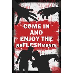 Need an enticing way to invite the victims--I mean guests--to your zombie party? This striking Zombie Door Sign is the perfect way to steer your guests in the right direction! (Each) Zombie Halloween Party, Zombie Birthday Parties, Zombie Prom, Zombie Walk, Halloween Signs, Halloween Birthday, Halloween 2019, Zombie Wedding, Anniversaire Walking Dead