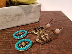 Tribal Inspired Earrings - Antiqued Aztec Pendant - Beaded Turquoise - Handmade - Bohemian - Boho Chic