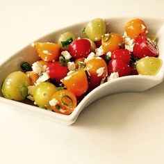 Delicious summer salad recipe with tomato and feta cheese!