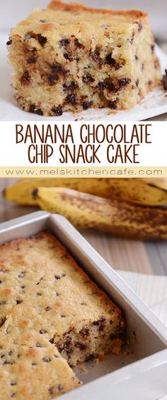 This banana chocolate chip cake (perfect for snacking!) takes just minutes to whip up and is fluffy and tender – with a delicious hint of hearty whole grains.