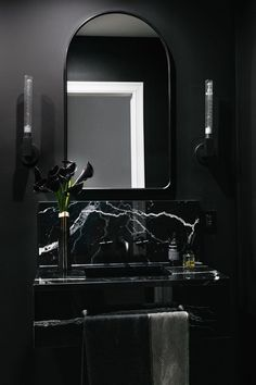 Superb Black Marble Bathroom Design Ideas Looks Classy - Marble has been a popular building material for centuries. Countless works of art have been made out of marble. It is timeless and elegant and adds a . Black Marble Bathroom, Black Bathroom Decor, Bathroom Interior Design, Decor Interior Design, Modern Bathroom, Black Bathrooms, Bathroom Designs, Bathroom Accessories, Marble Bathrooms