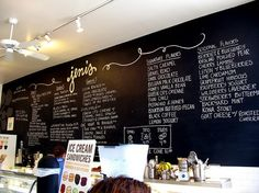 Chalkboard menu on the entire wall