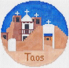 "Silver Needle  TAOS, NM  handpainted 4.25"" Round Needlepoint Canvas Ornament 18m"