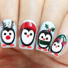 I have a collection of 15 Christmas penguin nail art, Ideas &s of These Xmas nails are fabulous and will suit your Christmas costumes, choose accordingly. Holiday Nail Art, Christmas Nail Art Designs, Winter Nail Designs, Christmas Decorations, Xmas Nails, Christmas Nails, Cute Nails, Pretty Nails, Nail Art Disney